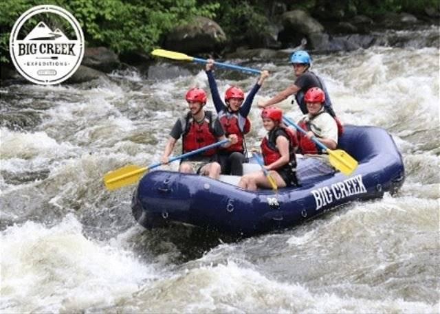 Free adult ticket to Big Creek Rafting with our xplorie package.