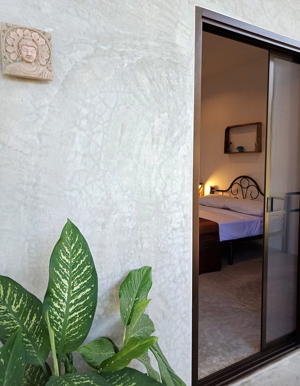 Double patio doors with mosquito screens. Ambient lighting and outdoor terrace in a tropical garden.