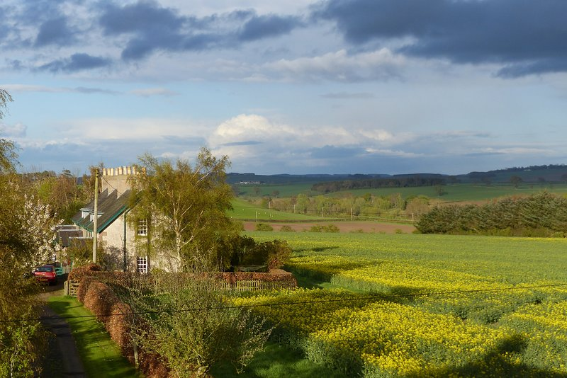 The cottage views stretch for miles over The Tweed Valley to The Cheviot Hills in Northumberland