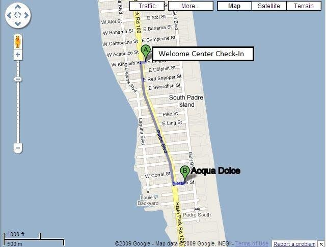 Map from Welcome Center to Acqua Dulce condos