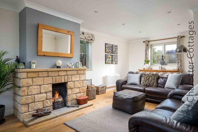 The stylish living room, with a stone fireplace and real fire