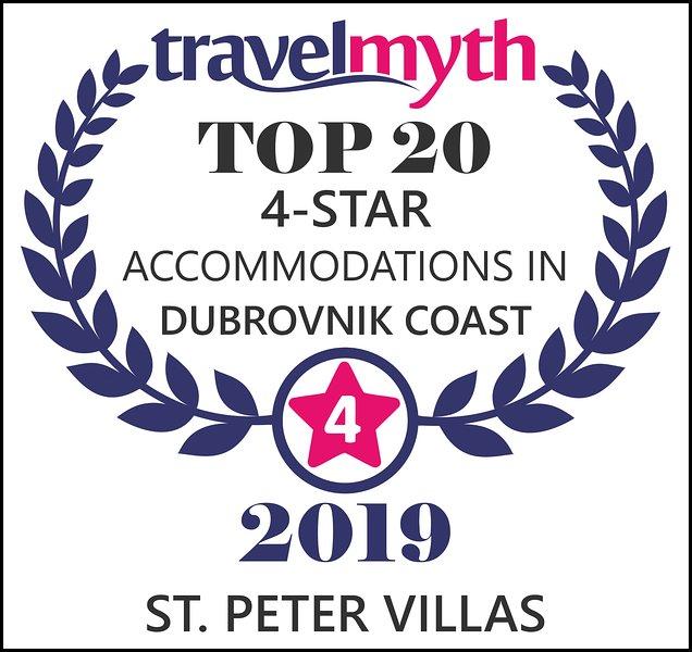 Récompense Travelmyth 2019 - St. Peter Villas parmi les 20 meilleurs hébergements 4 étoiles de la côte de Dubrovnik