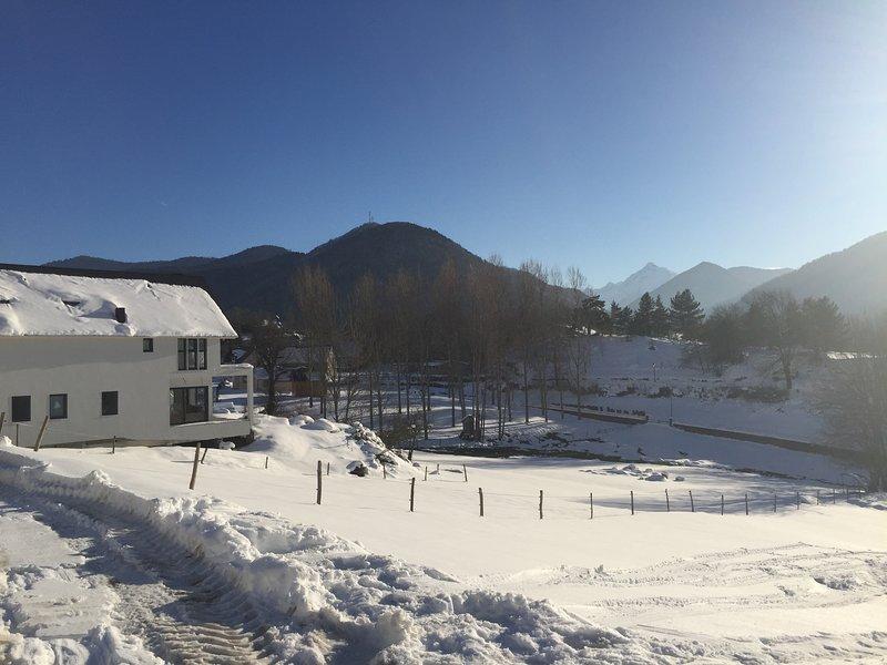 cottage and winter landscape