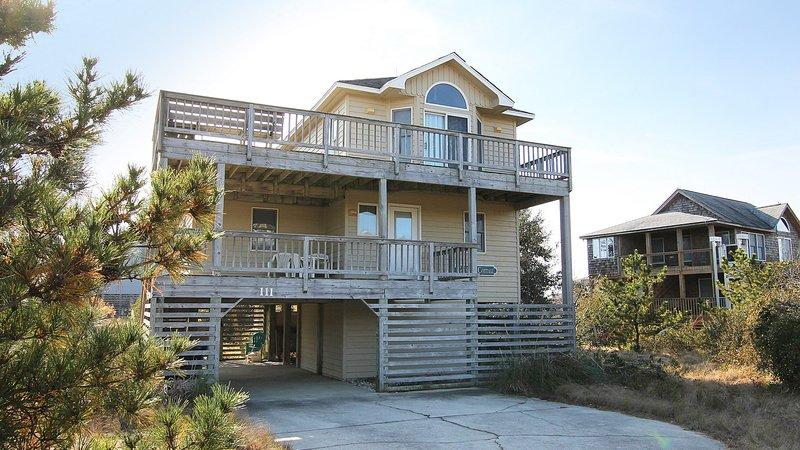 Porche, bâtiment, patio, rampe, balustrade