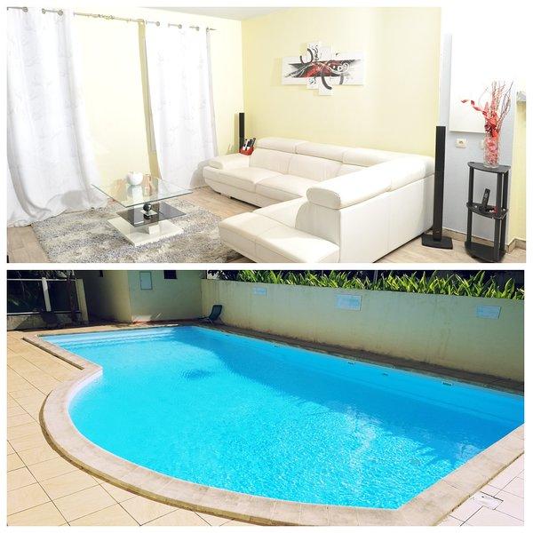 Appartement F3 tout confort avec piscine, aluguéis de temporada em Les Abymes