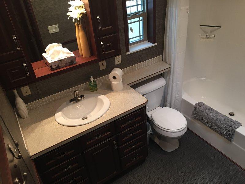 Großes 3-teiliges Badezimmer mit Badewanne und Dusche