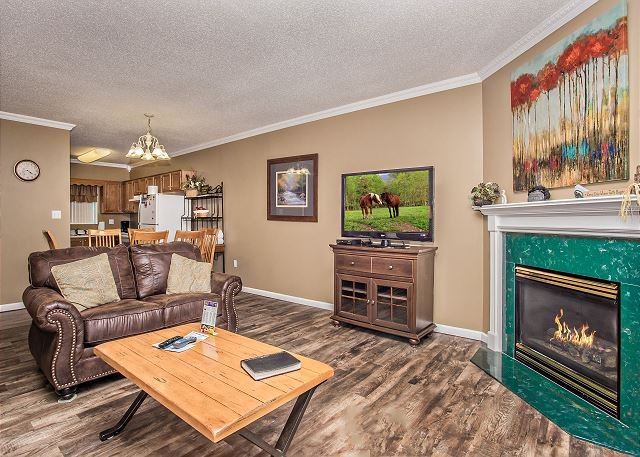 Living room with seasonal gas fireplace.