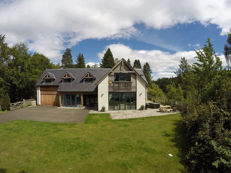 Views towards this splendid,bespoke,luxurious house with private hot tub