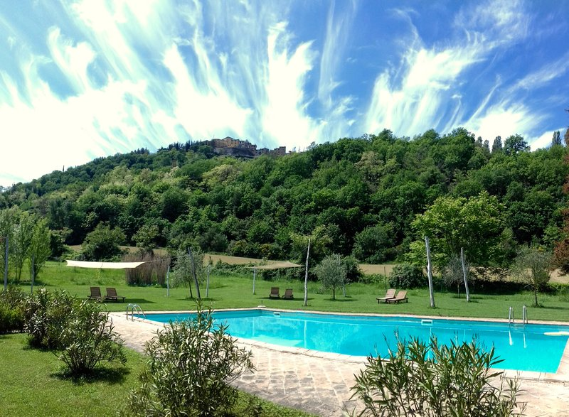 Pool with view of the medieval village Montone