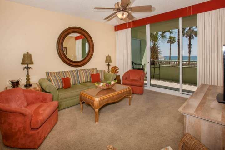 Carpeted living room with sleep sofa