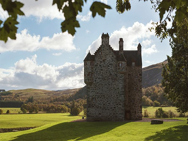 Forter Castle originally built in 1560.  Restored by interior designer Katharine Pooley.