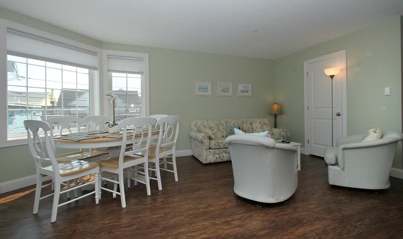 living/dining area with queen sleep sofa; beautiful ocean view