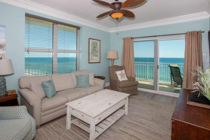 Living room w/panoramic Gulf views