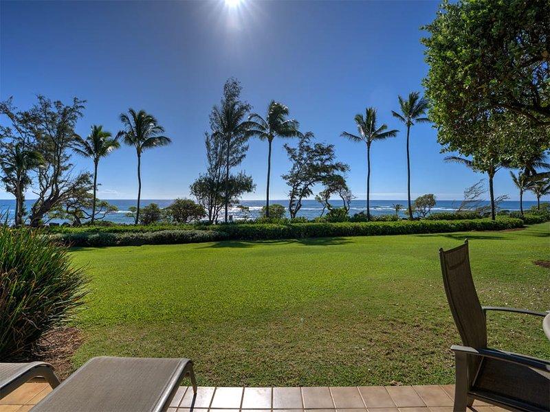 Ocean Front Kauai Bliss w/Kitchen, Washer/Dryer, Lanai, WiFi, Flat Screen–Unit, casa vacanza a Wailua