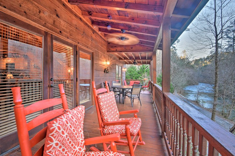 Find 2 furnished decks and riverfront patio with a fire pit!
