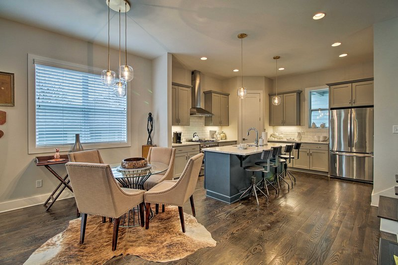This spacious layout features modern accents with a rustic twist!