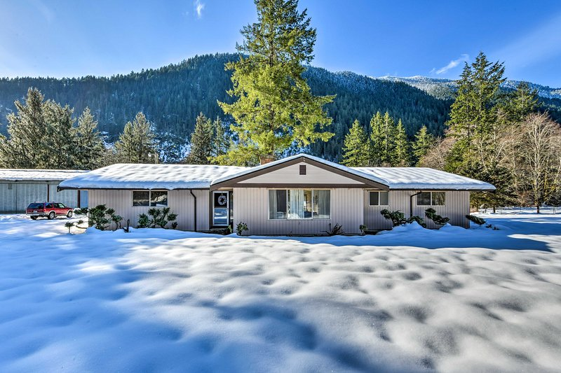 This property turns into a winter wonderland when the seasons change.