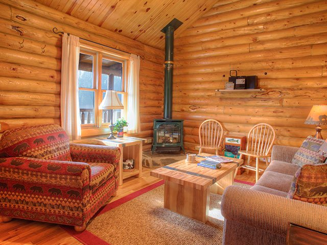 Harney View is cozy, quaint, and features a gas fireplace and a warm mountain-style interior.