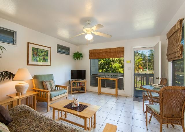 Living Room, Seating, Lanai in Distance