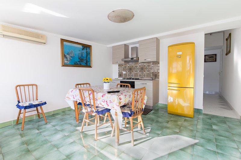 Woonkamer met queensize slaapbank, tv, nieuwe keuken en eettafel - tweede terras bereikbaar vanuit de kamer