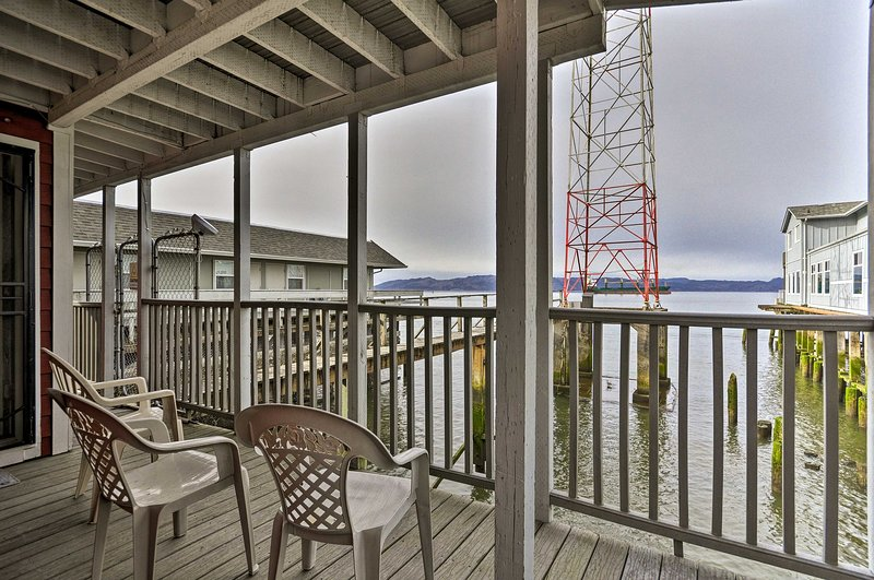 The propery sits directly on a pier in the heart of downtown Astoria.