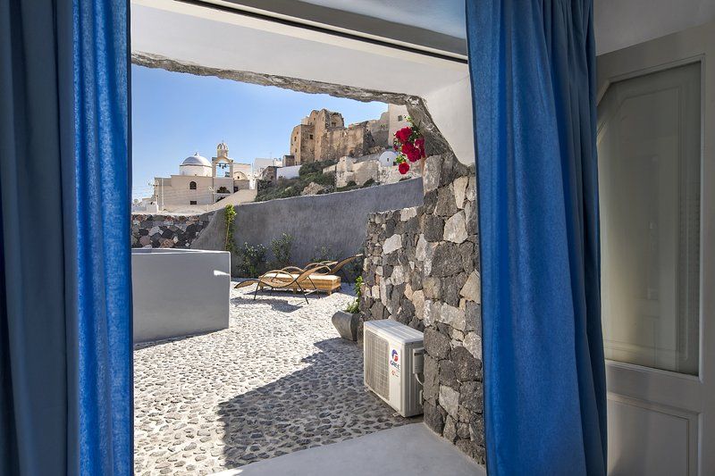 La splendida vista del castello e del cortile dalla camera da letto.
