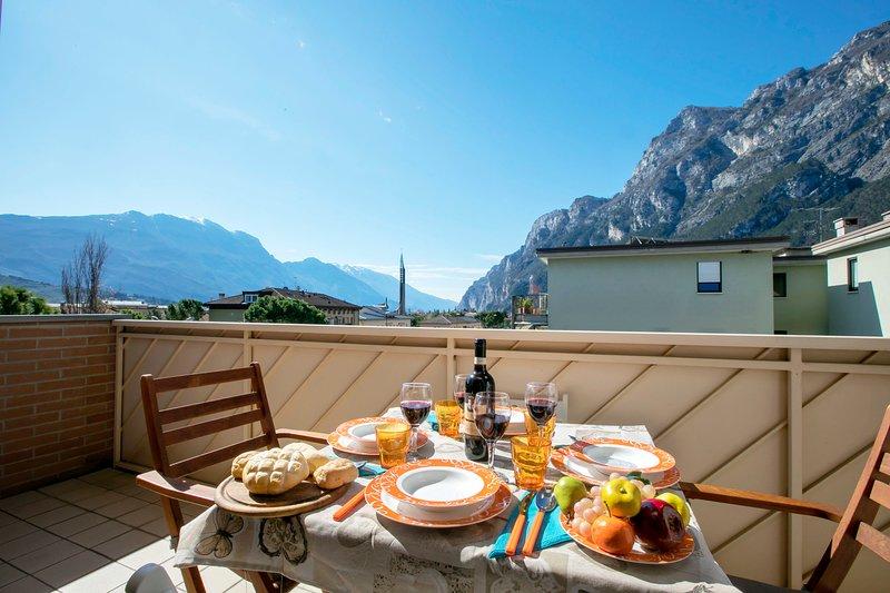 Balcon avec vue magnifique sur les montagnes