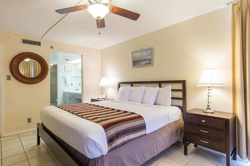 The beautiful master bedroom has a king-size bed.