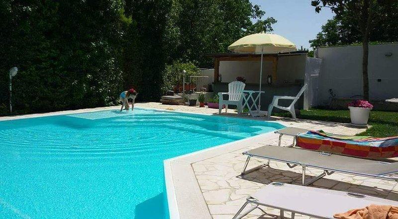 Solarium on heated pool