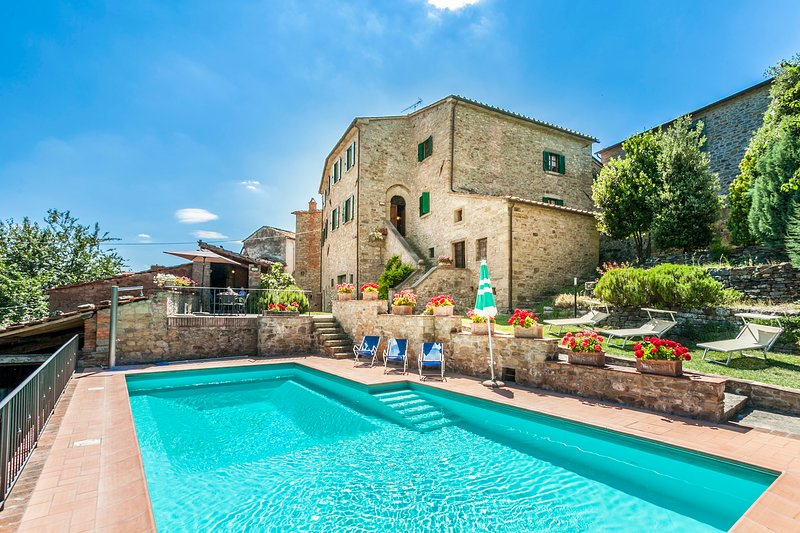 Villa Nightingale in Tuscany, Pool and Stairs leading to the main villa