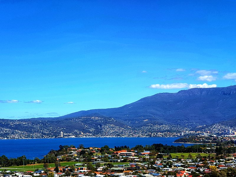 Enjoys views like this over Hobart, Mt. Wellington and the Derwent River from your apartment.