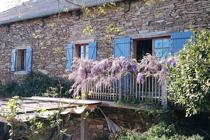Converted stone barn with balcony
