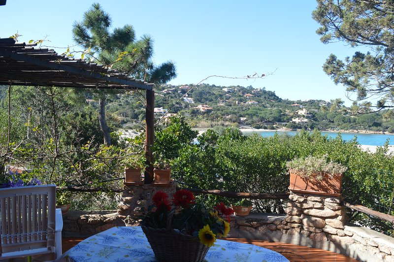 view from the terrace on Cala Girgolu Beach 50 meters from the house