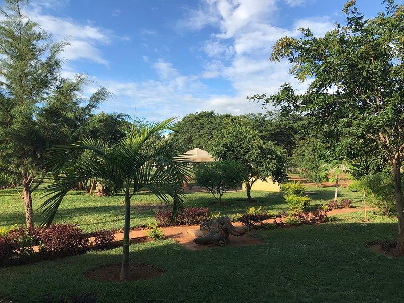Bellissimo giardino con area barbecue tenda