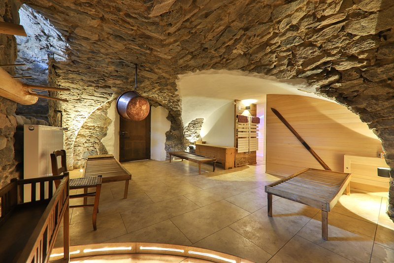 Our vaulted cellar with relaxation area, large original sauna 6 to 7 people, shower area, cloakroom
