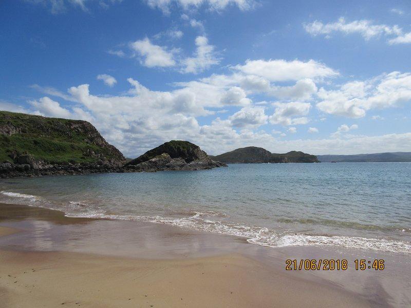 Sandy beach about 5 mins walk from caravan