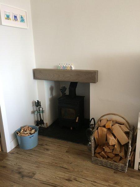 Log burner, basket of logs supplied