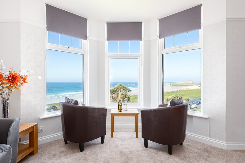 Beachside lounge overlooking Fistral Bay