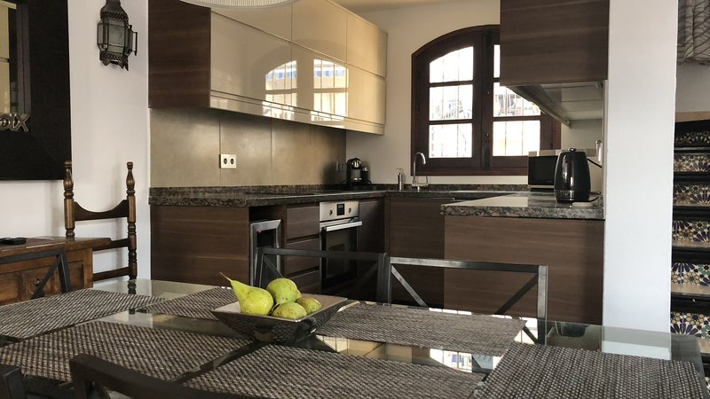 Remodelled modern kitchen, ready for 2019 guests.