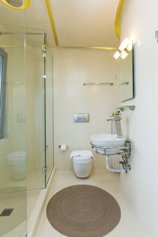 The third bathroom of the Villa, designed with style and care, with shower cabin!