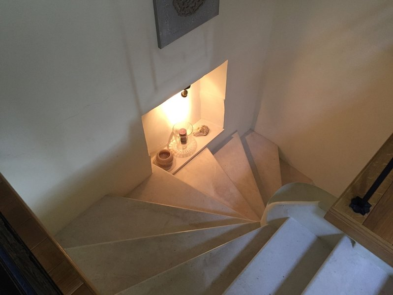 Marbel staircase leading up to Master Bedroom.
