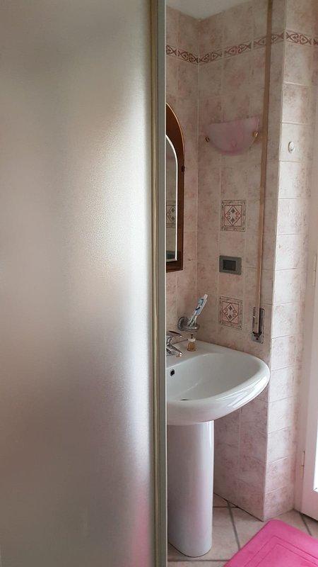 sanitary second bathroom adjacent to the single room