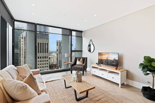 Our brand new modern apartment with all glass windows from floor to ceiling with city views!