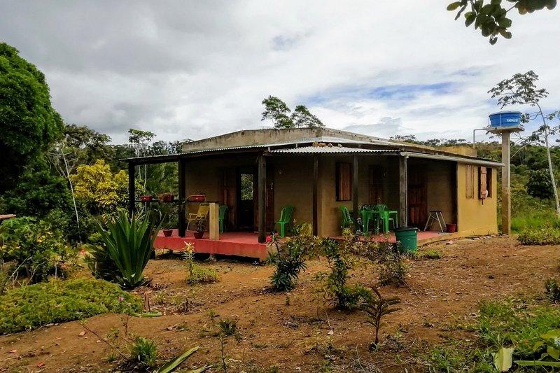 Casa e giardino vicino agli alberi di mango.