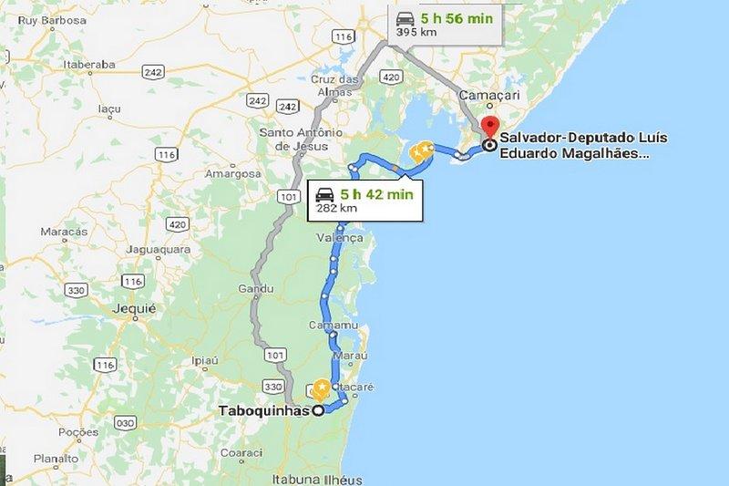Vanaf Salvador International Airport naar Fazenda Sao Jorge a Taboquinhas, distretto Itacaré.
