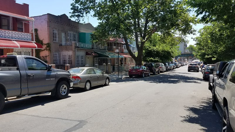 Photo showing DOWN the street ( NOT DIRECTLY IN FRONT)