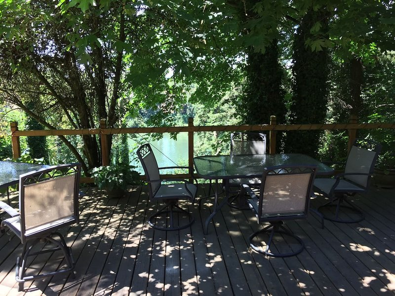 Relax on your private desk overlooking the Willamette River