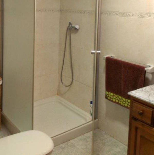 shower with glass screen