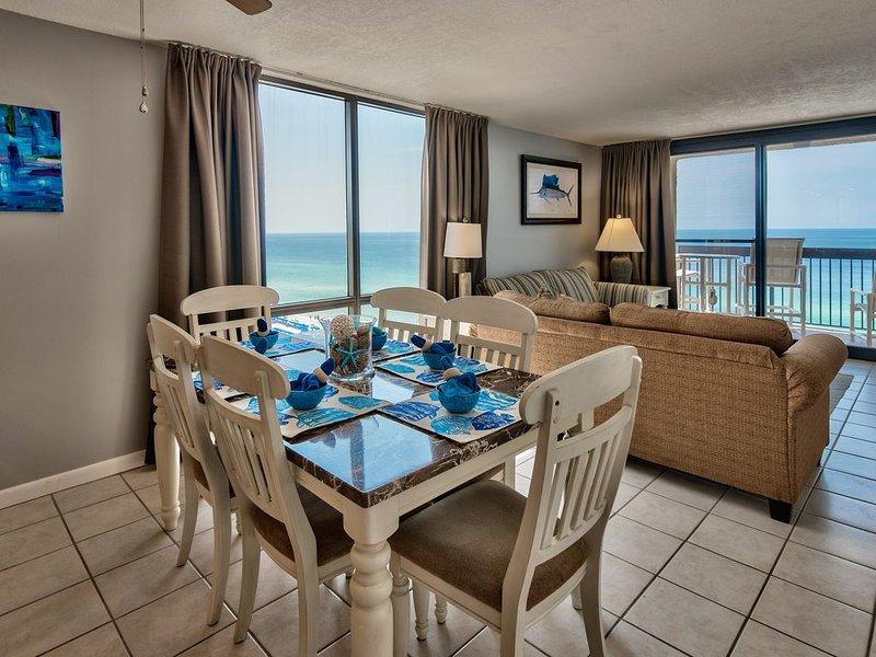 Living room has gulf views from two big windows.