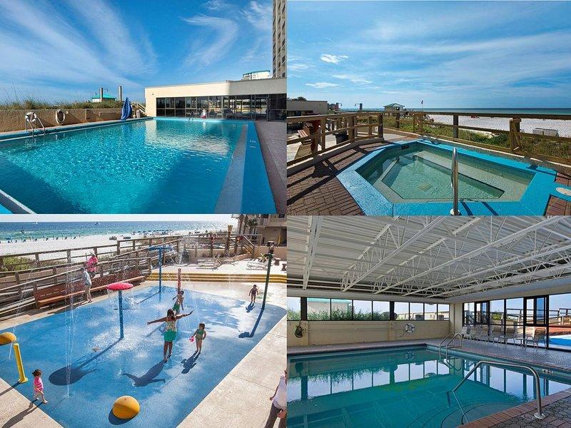 Sundestin has 1 inside, 1 outside pool. Also kids splash area and a hot-tub.